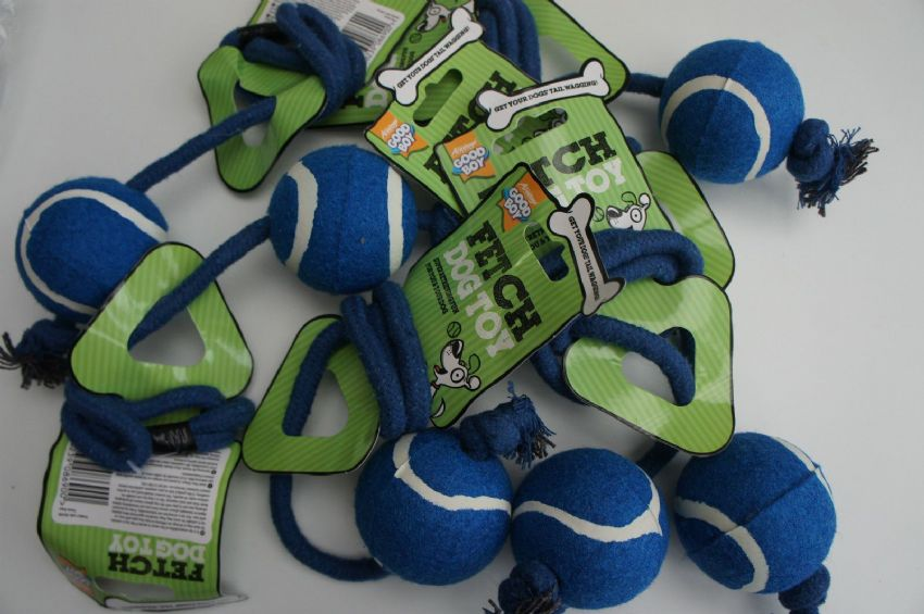 TENNIS BALL ON ROPE DOG TOYS X 6 - SPECIAL OFFER BARGAIN PACK X 6